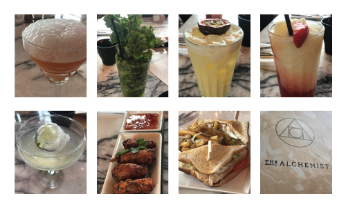 Cocktails and food at The Alchemist at MediaCityUK