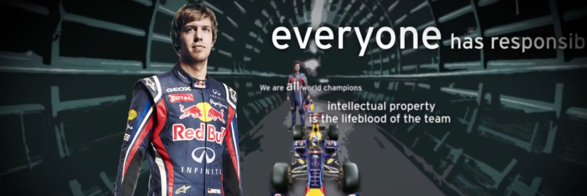 Still of film graphics from Red Bull Racing Internal Film