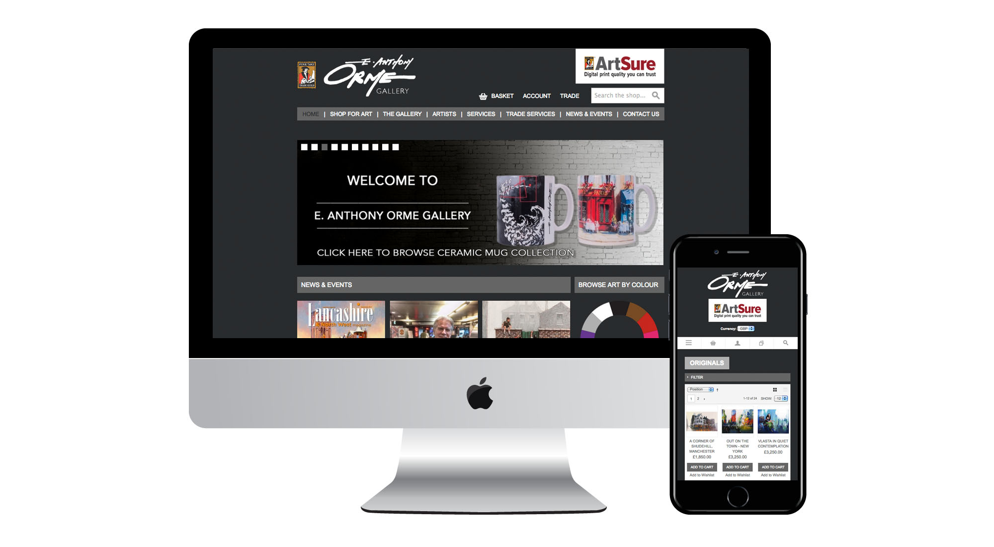 E Anthony Orme Gallery website screenshot