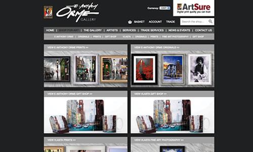 E Anthony Orme Gallery e-commerce website screenshot
