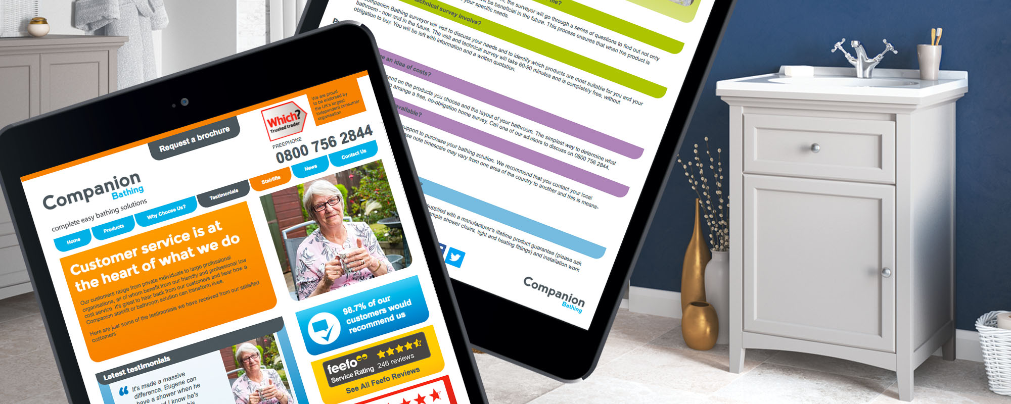 Direct Response Websites for Companion Stairlifts and Bathing