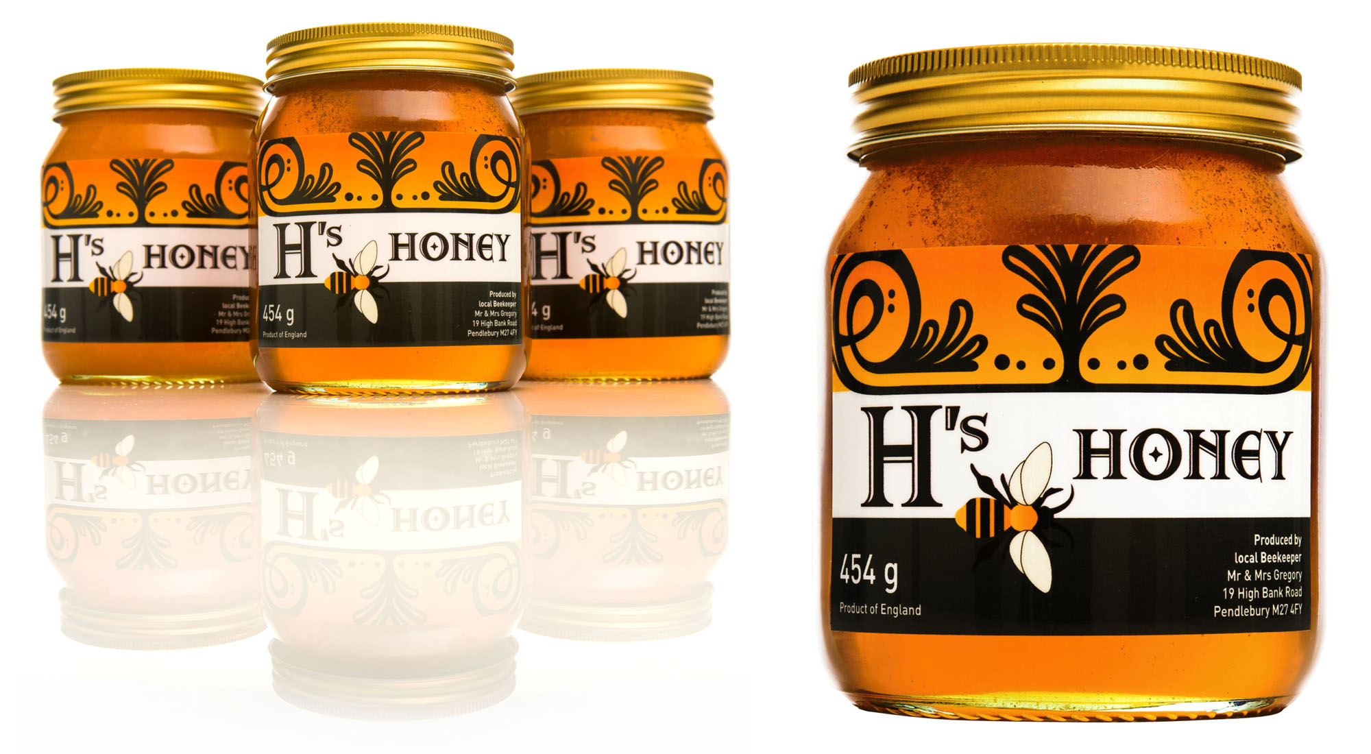 jar label design for h s honey packaging hive manchester