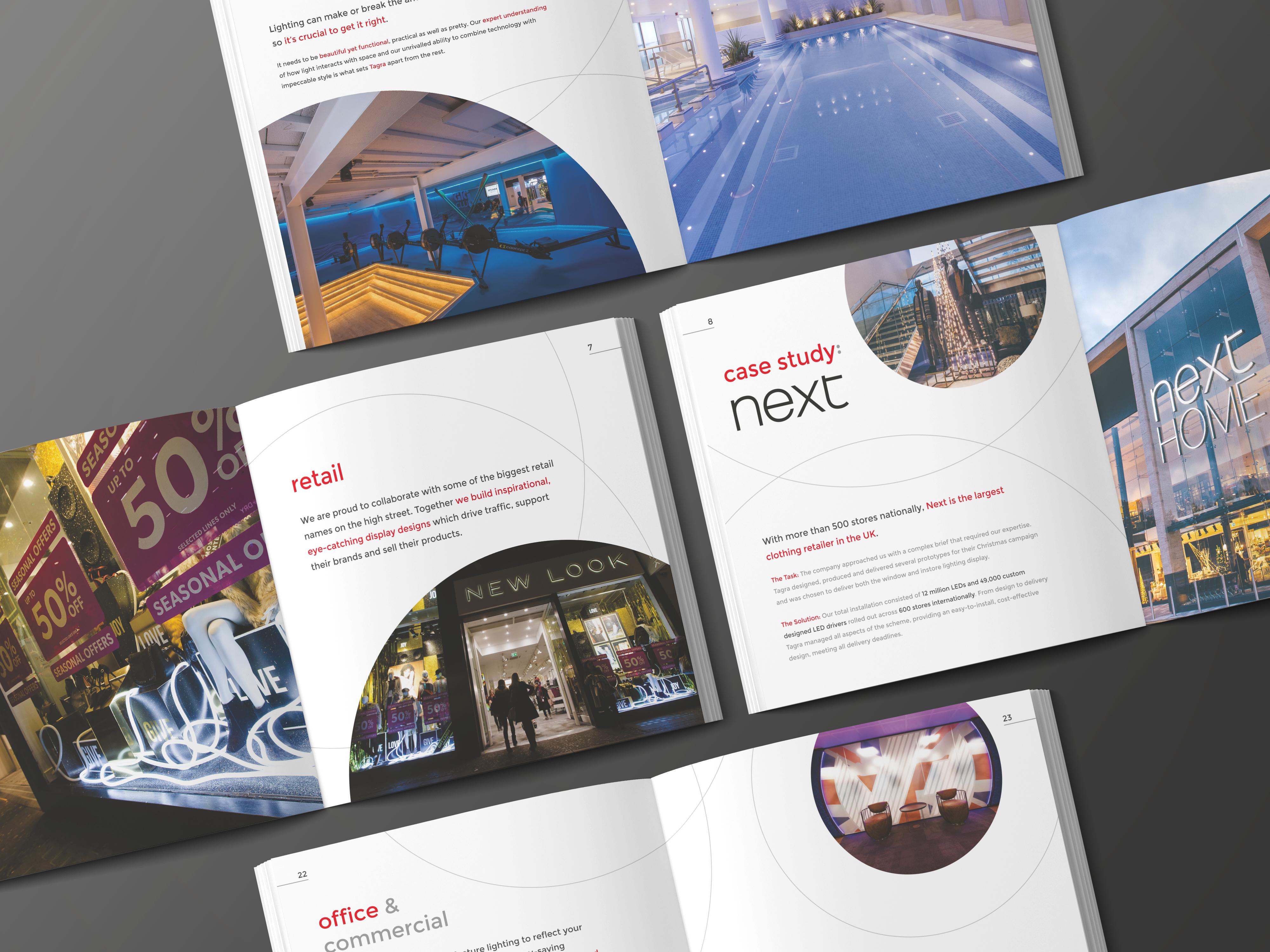 marketing brochure design for Tagra Lighting